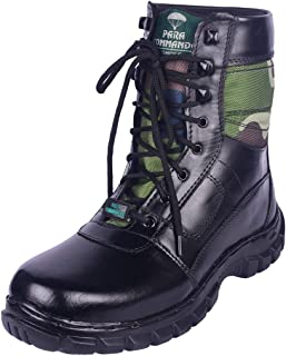 para commando Mens Black Genuine Leather Army Military Safety Boot Shoes with Steel Toe