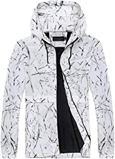 Zhiyuanan Mens Spring Autumn Plus Size Sports Hooded Jackets Zip Pocket Drawstring Casual Breathable Windproof Lightweight...