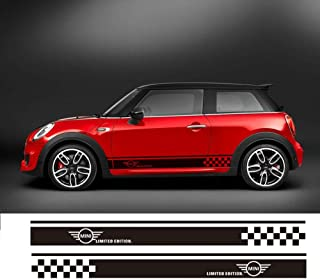 Charminghorse 2 piezas Styling Car Side Racing Stripe Sill Skirt Vnyl Decal Stickers Edición limitada para Mini Cooper R50 R52 R53 R56 R57 R58 R59 2 puertas (negro brillante)
