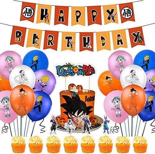KELEQI La Fiesta de cumpleaños Suministros Pack Incluye la Bandera de la Torta 24 Primeros de la Magdalena 20 Globos para Dragon Ball Z Fuentes del Partido