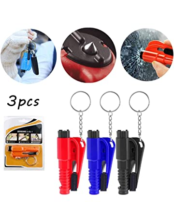 starte 3 In 1 Car Life Keychain Emergency Escape Tool Car Window Car Safety Rescue Tool Window Glass Breaker With Keyring