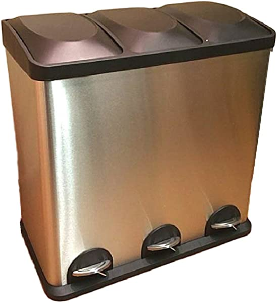 Triple Compartment Trash Can Smell Proof Garbage Kitchen Step Recycle Industrial Heavy Duty 60 Liter Bin EBook