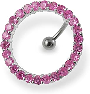 Fancy Studded Circular Reverse Bar 925 Sterling Silver with Stainless Steel Belly Button Navel Rings