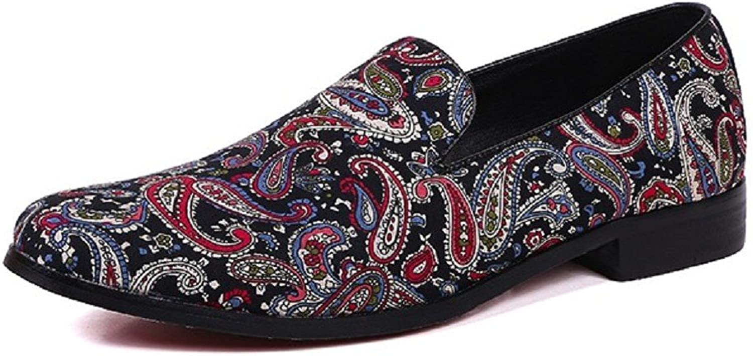 Cover Plus Size 5-12 Paisley Genuine Leather Dress Loafers Mens shoes