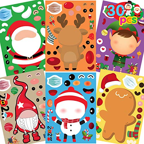 Funnlot 30PCS Christmas Stickers for Kids Christmas Craft Kits for Kids Christmas Game for Kids Make Your Own Christmas Quarantine Stickers Christmas Activities for Toddlers for Home school Activities
