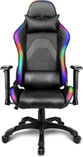 Gaming Stuhl LED Beleuchtung Schreibtischstuhl Gaming RGB Stuhl Beleuchteter Bürostuhl Ergonomischer Computerstuhl LED Gam...