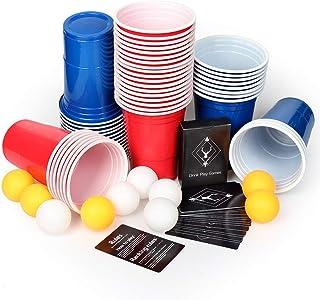 AOLUXLM Gobelets de Fête, 50 Coupes à Bière Beer Pong avec 10 Balle de Bière Pong + 1 Set Carte de Jeu, Réutilisables Gobe...