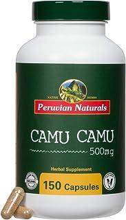 Organic Camu Camu 500mg - 150 Capsules - Peruvian Naturals | Certified-Organic, Powerful Vitamin C Supplement