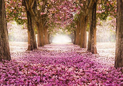 decomonkey | Papier peint intissé Allee Fleurs 350x256 cm Trompe l oeil | Déco Mural Tableaux Muraux Photo Nature Paysage rose