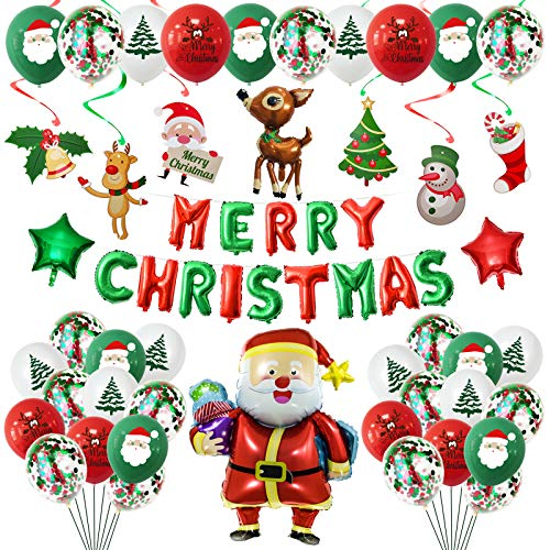 Christmas Balloons -Christmas Party Decorations Balloons Set 64 Pcs Merry Christmas Balloons Banner Red and Green Balloons Santa Claus Elk Mylar Balloons Snowman Christmas Tree Bell Decoration