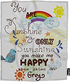 Mugod You are My Sunshine Throw Blanket Bird Rainbow Star Happy Romantic Creative Lettering Soft Cozy Fuzzy Warm Flannel Blankets Decorative for Baby Toddler Swaddle Dog Cat 30X40 Inch