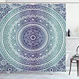UKSILYHEART Shower Curtain 72x80 Inches Navy and Teal Bath Curtain, Ombre Mandala Old Art with...