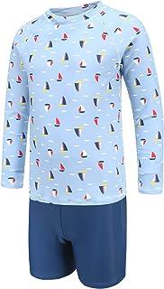 ملابس سباحة واقية طويلة الأكمام للأولاد طقم ملابس سباحة من قطعتين مع سروال سباحة