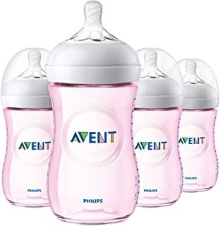 Philips Avent Natural Baby Bottle, Pink, 9oz, 4pk, SCF013/48