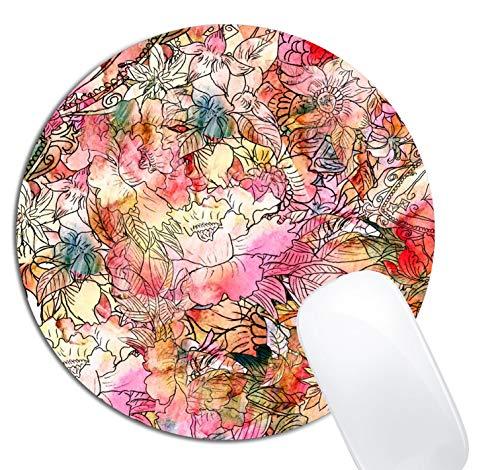 Colorful Watercolor Floral Pattern Mouse Pad Round Non-Slip Rubber Mousepad Laptop Office Computer Decor Cute Desk Accessories Customized Design Mouse Pad