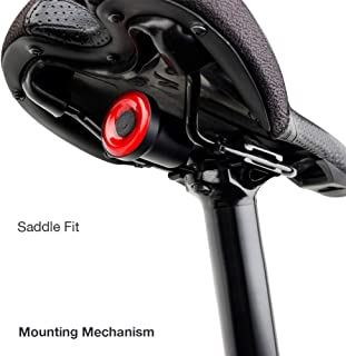 Smart Bicycle Taillight with Saddle Bracket Mounting, Manual Switch or Automatic Daylight/Motion Sensing with Deceleration Warning and Auto on/Off, IPX6 Water Resistant.