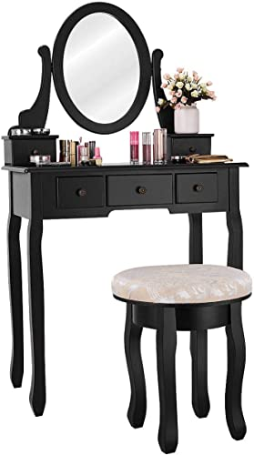 new arrival Giantex Vanity Makeup Table Set Bedroom Furniture with Cushioned Padded Stool & high quality 5 Drawer Round 360 Degree Rotation Swivel Mirror Dressing Table Stool Wooden high quality Vanity Set (Black with 5 Drawer) outlet sale