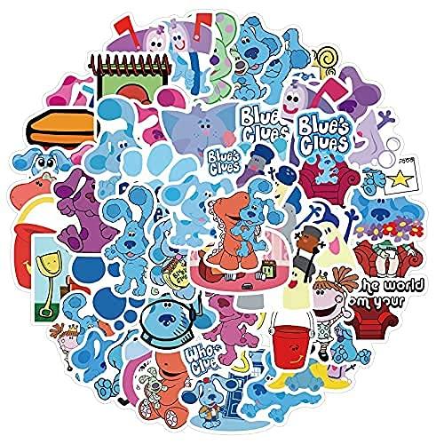 ZHAOHU 50 Pegatinas de Doodle de Perro Moteado Azul de Dibujos Animados para niños Decorar Pegatinas Impermeables para Equipaje de Motocicleta