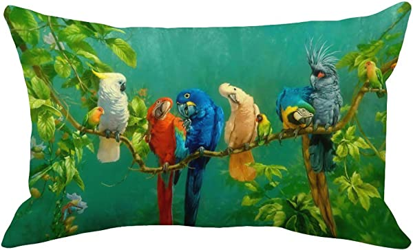 YANGYULU Home Decorative Oil Painting Romantic Parrots Throw Pillow Covers Super Soft Green Forest Rectangle Cushion Cover For Sofa Couch Office Bedroom Decor Pillowcase 18 X18 Oil Painting Parrots