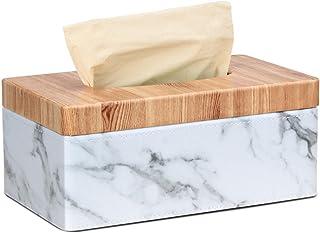MLOPFTA Boîte à mouchoirs rectangulaire de qualité supérieure en PU marbre pour le visage - Pour la maison, le bureau, la ...
