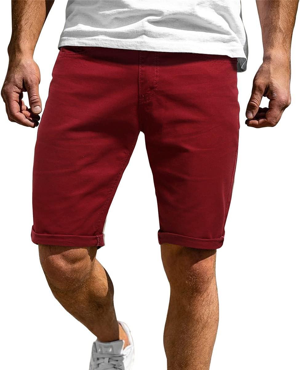 WoJogom 2021 Summer Men Denim Shorts Slim Large Size Casual Knee Length Short Hole Jeans Shorts for Men