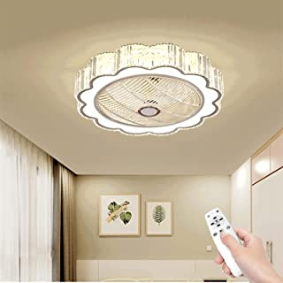 Modern LED Fan Ceiling Light, Silent with Remote Control, Adjustable Wind Speed, Adjustable Color Temperature, Round Cryst...