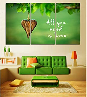 Artwork, 3 Panel green All you need is love Canvas Painting Oil Painting Print On Canvas Home Decor Wall Art Wall Picture ...