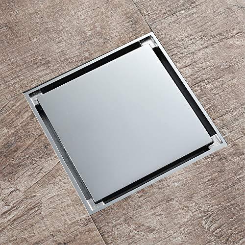 PIJN Bodenablauf Chrom Farbe Galvanik Badentwässerung und Deodorization Unsichtbare Bodenablauf (Color : Metallic, Size : 120x120x45mm)