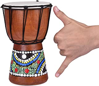 Hand Painted Djembe Drum Wooden goatskin Professional Materials Classic Painting West African Bongo Drum for Children Kid Toys (7.87 inch4inch)