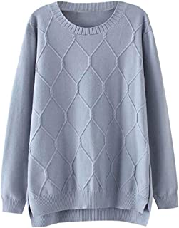 Minibee Women's Loose Pullover Sweaters Long Sleeve Crew Neck Cable Knit Jumper Tops
