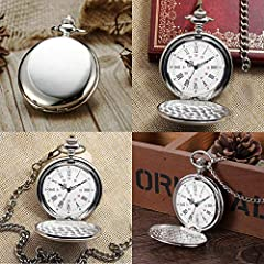 Smooth Vintage Steel Quartz Pocket Watch Classic Fob Pocket Watch with Short Chain for Men Women - Gift for Birthday Anniversary Day Christmas Fathers Day (Silver) #2