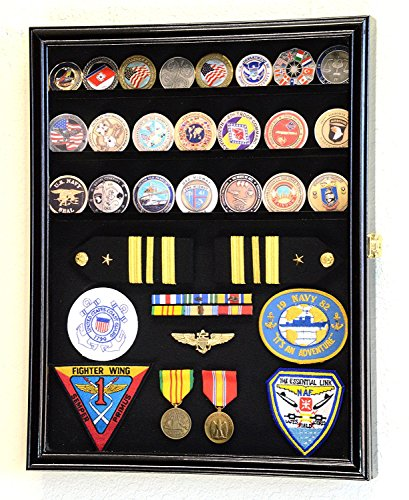 Challenge Coin/Medals/Pins/Badges/Ribbons/Insignia/Buttons Chips Combo Display Case Box Cabinet (Black Finish)