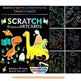 Scratch Dibujar Art para Niños,9 Hojas Doble Cara Dinosaurio Multicolor Model Rascar Cuaderno,Magicos Dibujar Coloring Juegos Manualidades kit,para Pascua Halloween Navidad Fiesta Cumpleaños Regalo