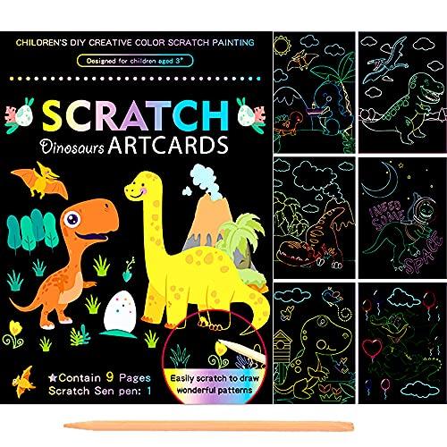 Scratch Dibujar Art para Niños,9 Hojas Doble Cara Dinosaurio Multicolor Model Rascar Cuaderno,Magicos Dibujar Coloring Juegos Manualidades kit,para Pascua Halloween Navidad Fiesta Cumpleaños R