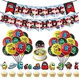 Yisscen DecoracióN De Fiestas TemáTicas Globo Feliz Cumpleaños Pancarta Cumpleaños Supplies Set Usado para Niños Niñas Decoración de Carteles de Fiesta 34PCS