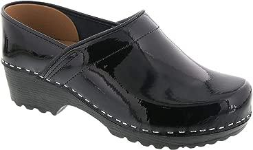 Bjork Karin Swedish Women's Pro Black Patent Leather Clogs