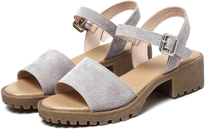 Summer Ladies High Heels Sandals Fashion Square Buckles College Wind Sandals Sandals