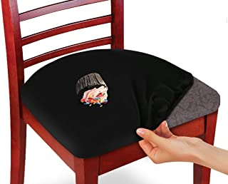 KLEEGER Chair Covers Protective & Stretchable: Fits Round Square Chairs Kids, Pets, Set of 2 (Black)