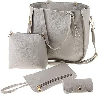 IPOTCH Women Purses Handbags Set Leather Top Handle Satchel Tote Shoulder Bag 4pcs