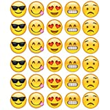 30 Emoji Faces Cupcake Toppers Edible Icing Images 1.5 inchs in Size