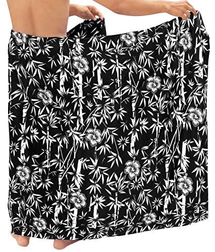 LA LEELA Pareo para Cubrir la Piel Hombres Traje de baño de bambú Playa de natación Pareo Traje de baño Halloween Negro