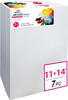 PHOENIX Pre Stretched Canvas for Painting - 11x14 Inch / 7 Pack - 5/8 Inch Profile of Super Value Pack for Oil & Acrylic Paint