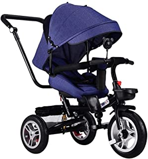 Children's tricycle baby folding trolley bike child stroller baby bike (Color : Black) JB-Tong