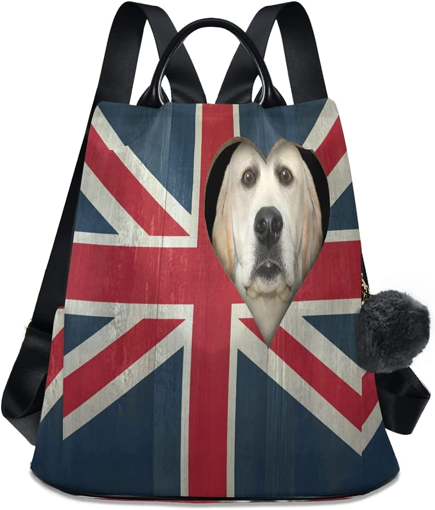 ALAZA Max Limited time for free shipping 61% OFF Funny Dog Flag of the UK Backpack St with Adjustable Purse