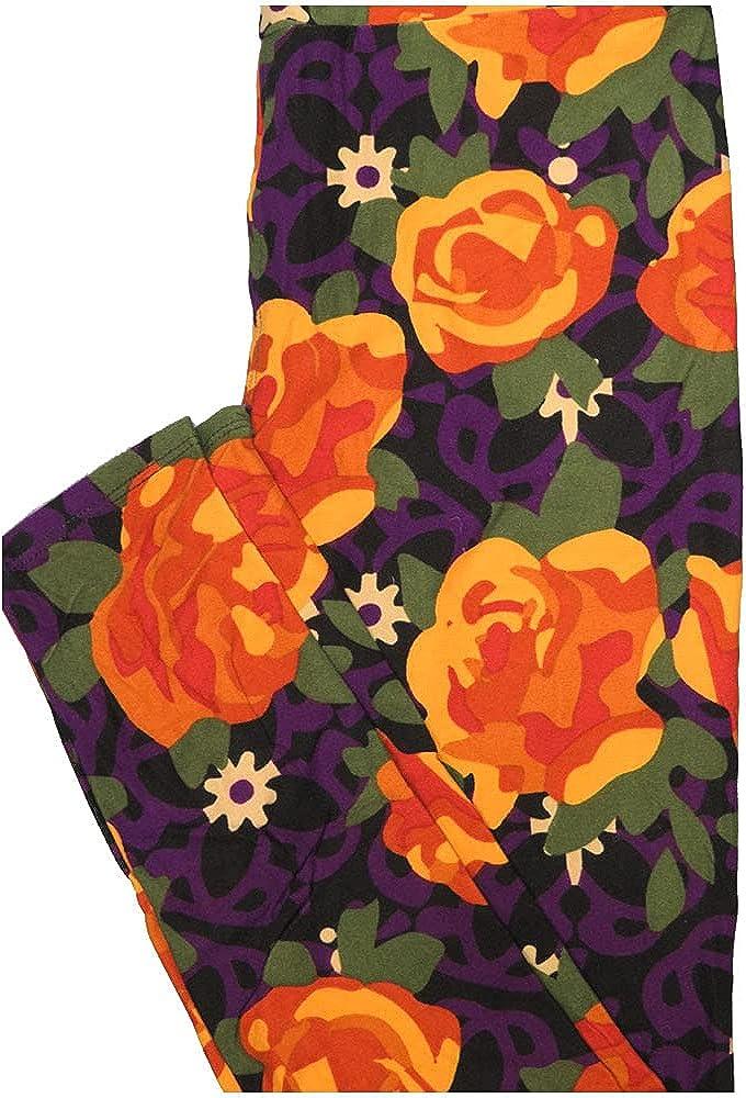 Lularoe One Size OS Mandala Roses Black Blue Orange Green Floral a Leggings (OS fits Adults 2-10)