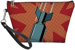 War Home Decor Useful Cosmetic Bag,Cartoon Drops Atomic Bomb Destructive Nuclear Attack Destroying Illustration for Travel,for Women Makeup Bags Pouch Purse Handbag Organizer