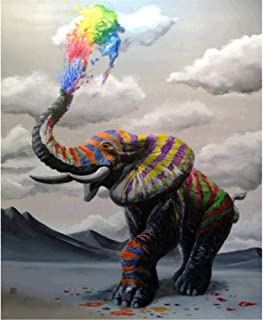 DIY 5D Diamond Painting by Number Kits, Full Drill Diamond Painting Embroidery Paintings Pictures Arts Craft for Home Wall Decor, Full Drill, Colorful Elephant(30x40) cm/(11.8x15.7) Inches