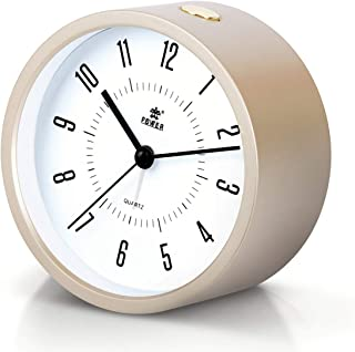 Laigoo Analog Alarm Clock for Bedrooms, Non-Ticking Vintage Alarm Clock Desk/Bedside Clock Round Travel Alarm Clock with Snooze & Nightlight Function for Home/Bathroom/Office(Gold)
