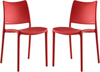 Modway Hipster Contemporary Modern Molded Plastic Stacking Two Kitchen and Dining Room Chairs in Red - Fully Assembled