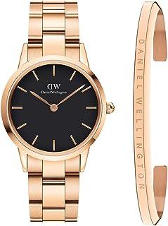 Daniel Wellington Unisex Iconic Link Watch and Classic Bracelet Gift Set, 32mm,Rose Gold/Black
